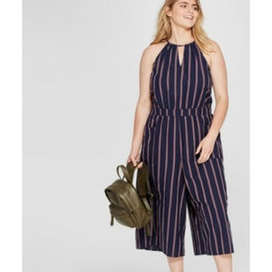 Universal Threds Navy Striped Cropped Jumpsuit